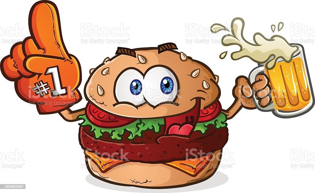 Cheeseburger Sports Fan Cartoon vector art illustration