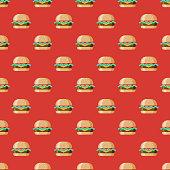 Cheeseburger USA Seamless Pattern