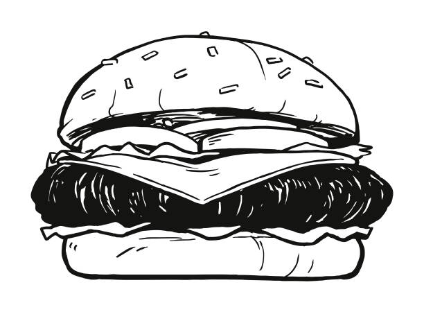 stockillustraties, clipart, cartoons en iconen met cheeseburger - hamburgers