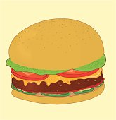 Cheeseburgery  with lettuce, tomato, cheese and mayo. This archive is drawed. It's not a photo traced archive.