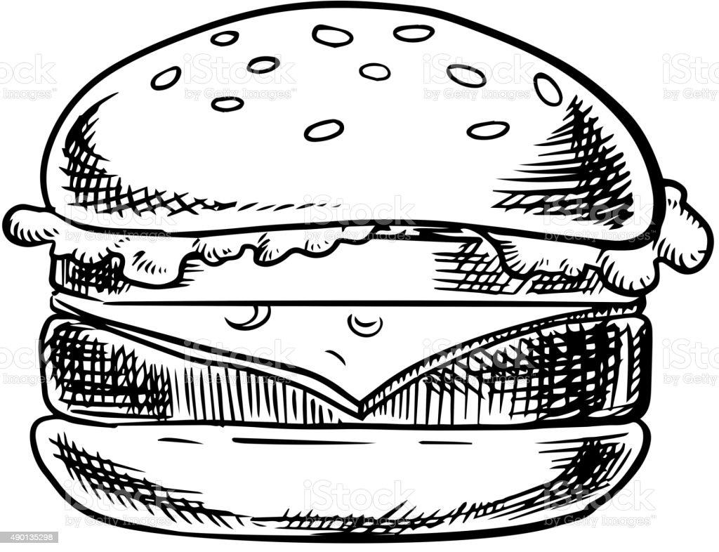 Cheeseburger with beef, vegetables and cheese vector art illustration