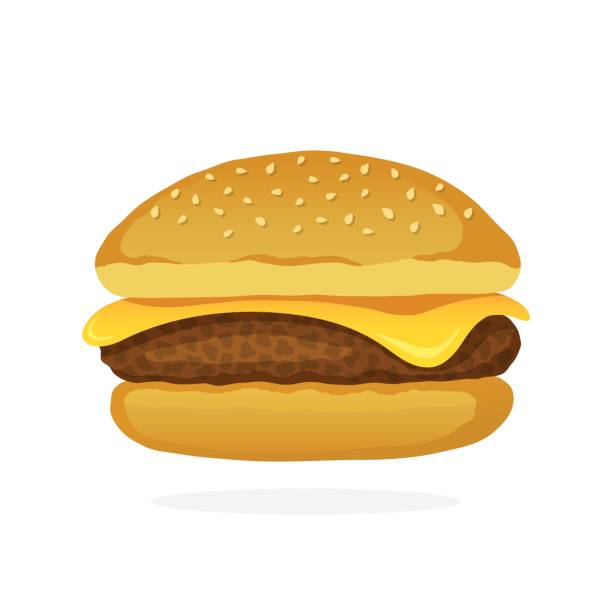 Cheeseburger with meat and cheese Vector illustration in cartoon style. Cheeseburger with meat and cheese. Unhealthy food. Decoration for patches, prints for clothes, badges, posters, emblems, menus cheeseburger stock illustrations