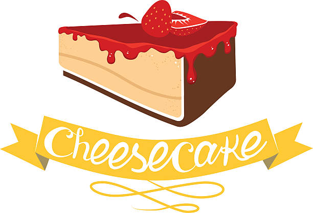 Cheesecake with strawberry jam. Vector bakery pastry vector art illustration