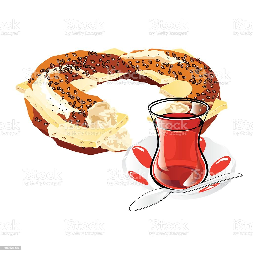 Cheesed Turkish Bagel and Tea vector art illustration