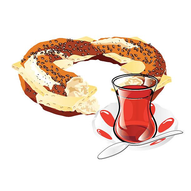 Cheesed Turkish Bagel and Tea vector art illustration