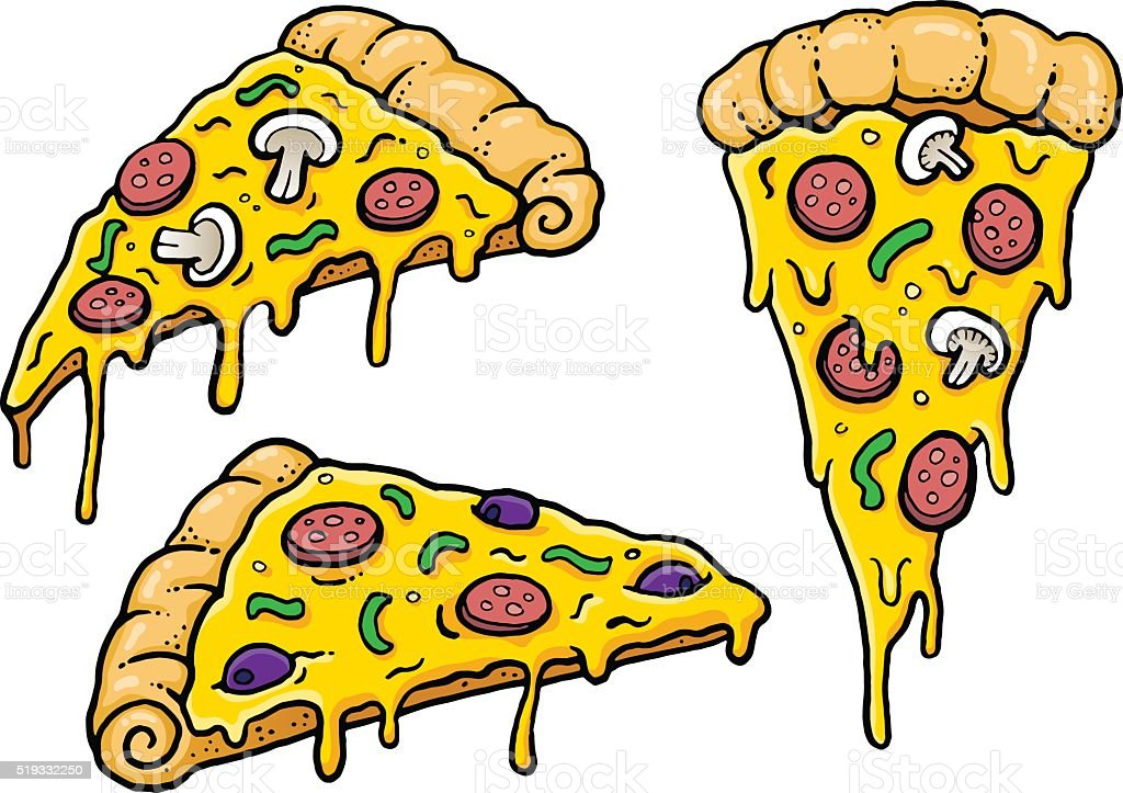 Cheesy Comic Pizza Slices vector art illustration
