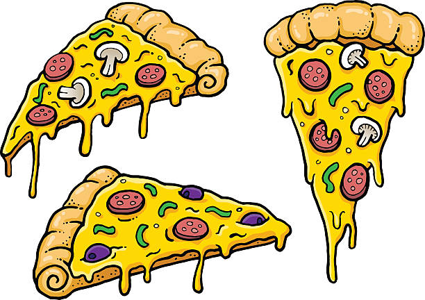 Cheesy Comic Pizza Slices Cartoon Pizza slices with dripping cheese. Vector Illustration. kitsch stock illustrations