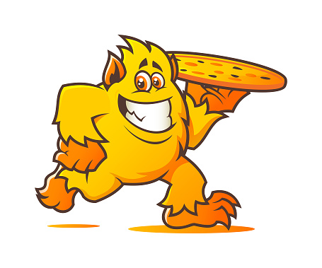 Cheesy monster chef character with pizza - vector mascot for pizzeria