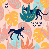 Vector seamless trendy tropical pattern with tropical leaves and cheetah