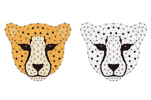 Cheetah cartoon face, flat animal face icon vector