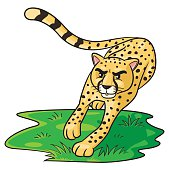 Illustration of cute cartoon cheetah.