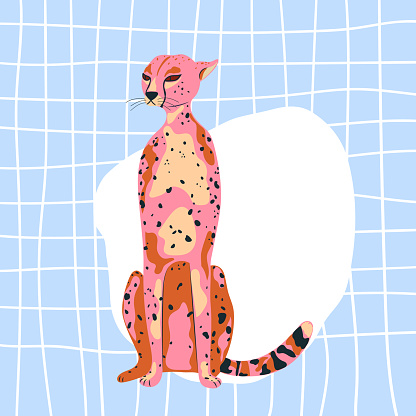 cheetah in pink color flat style. Trend illustration.