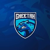 Cheetah mascot logo design with modern illustration concept style for badge, emblem and t shirt printing. Angry Cheetah illustration for sport and e-sport team.