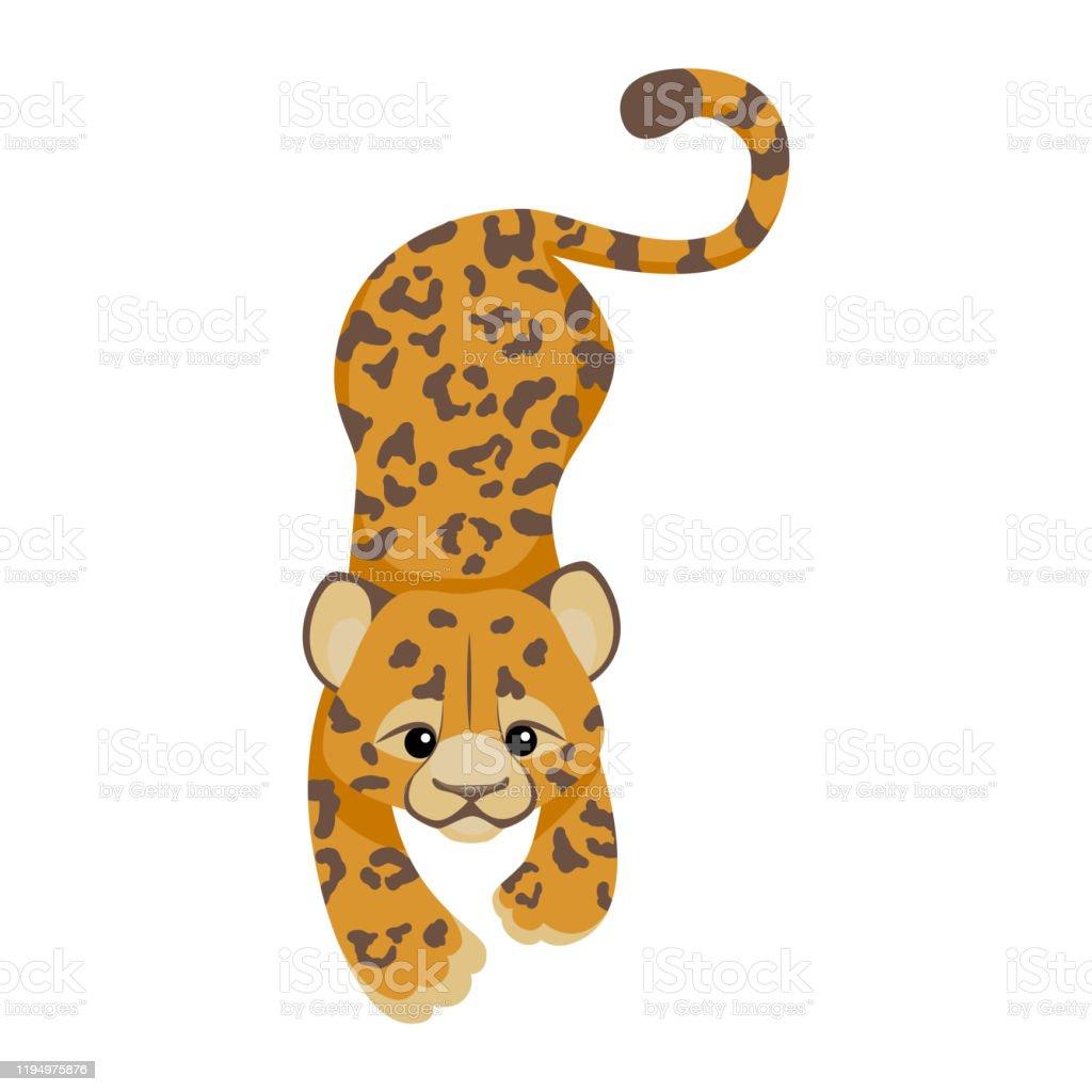 Guepard Ou Leopard Ou Personnage De Dessin Anime Jaguar Animal Mignon De Cheri Dans Le Modele Plat Style De Mode Textile Moderne Et Tendance Animal Tropical Dans La Jungle Africaine Chat Sauvage