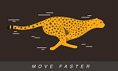 Cheetah running faster, side view, flat design, vector