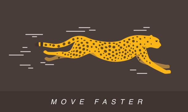 stockillustraties, clipart, cartoons en iconen met cheetah running, side flat 3d icon design - jachtluipaard