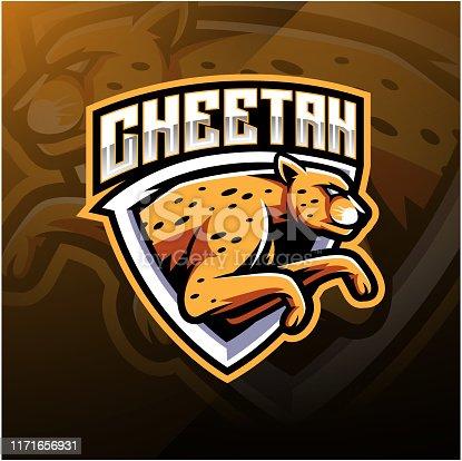 Illustration of cheetah sport mascot logo design