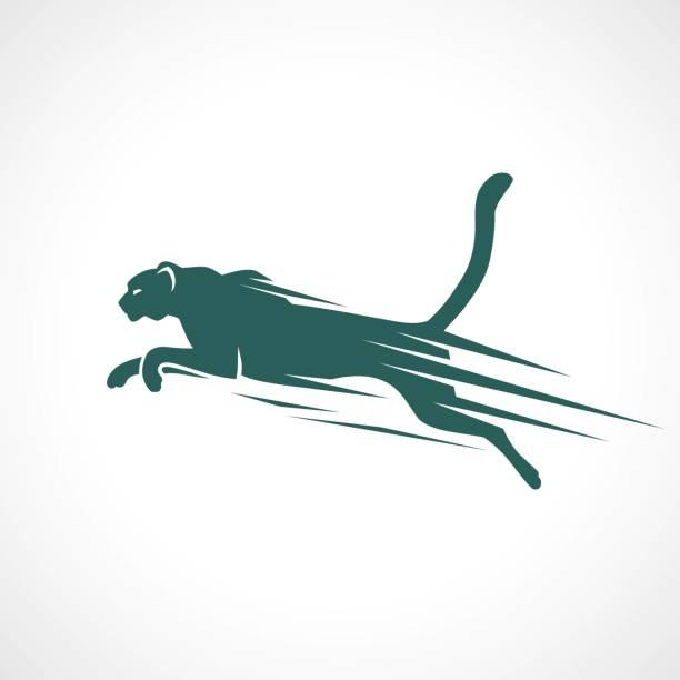 stockillustraties, clipart, cartoons en iconen met cheetah symbool-vector illustratie - jachtluipaard