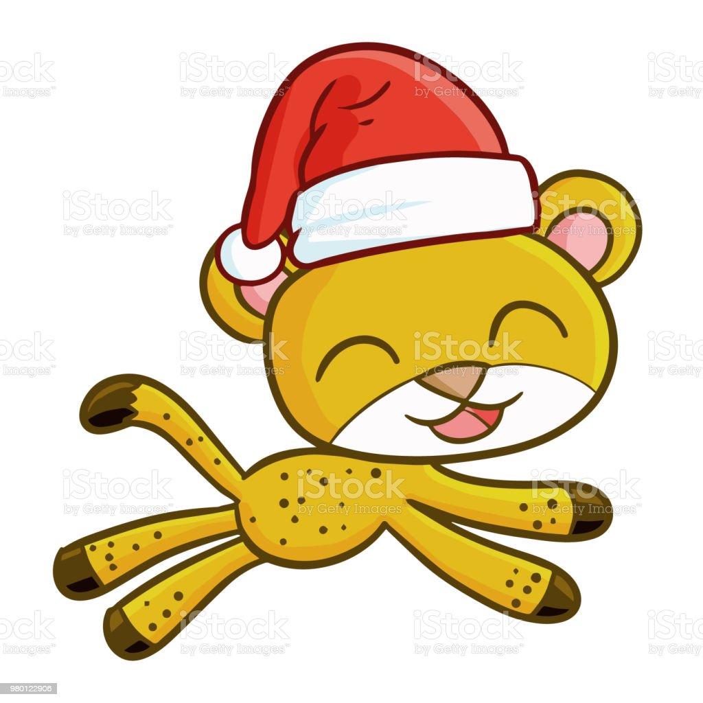2b2f8c8ac0493 cheetah wearing Santa s hat royalty-free cheetah wearing santas hat stock  vector art  amp