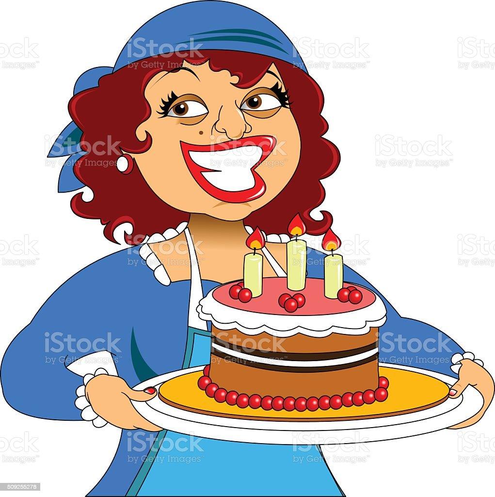 Chefkoch Und Kuchen Vektor Illustration 509255278 Istock