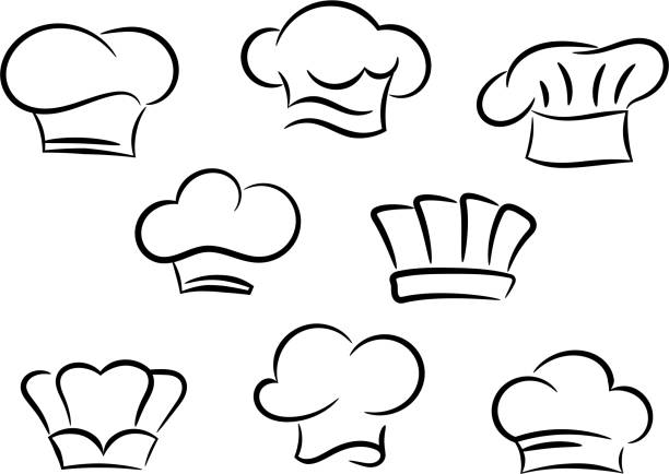 Chef and cook hats set Chef and cook hats set isolated on white background cooking silhouettes stock illustrations