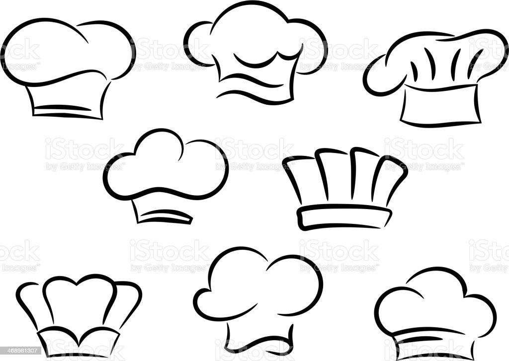 Chef and cook hats set vector art illustration