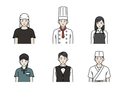 Chef and cook illustration set
