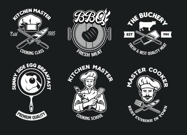 koch und küche konzept abzeichen sammlung set - hauswirtschaft stock-grafiken, -clipart, -cartoons und -symbole