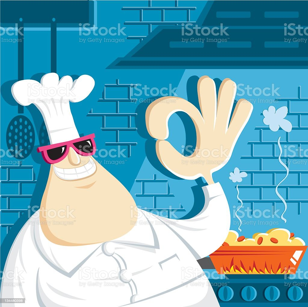 chef and perfect cooking royalty-free stock vector art