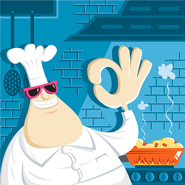 chef and perfect cooking vector art illustration