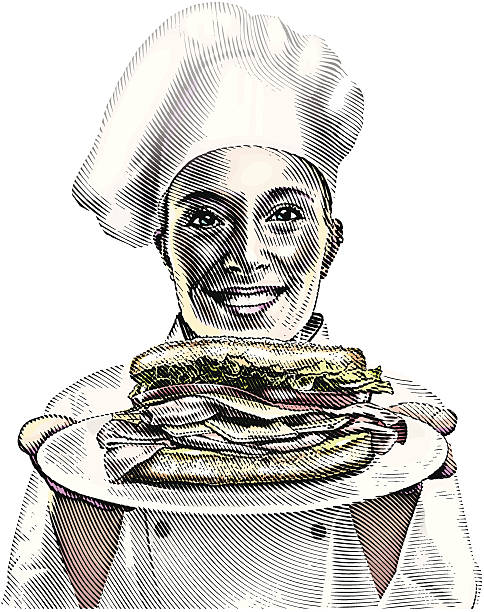 stockillustraties, clipart, cartoons en iconen met chef and sandwich - bargerecht