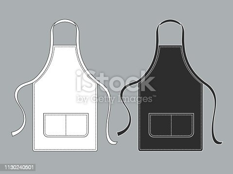 Chef apron. Black white culinary aprons chef uniform kitchen cotton kitchen worker woman wearing waiter vest isolated vector template