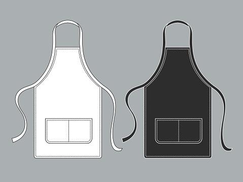 Chef apron. Black white culinary aprons chef uniform kitchen cotton kitchen worker woman wearing waiter vest template