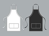 Chef apron. Black white culinary aprons chef uniform kitchen cotton kitchen worker woman wearing waiter vest template