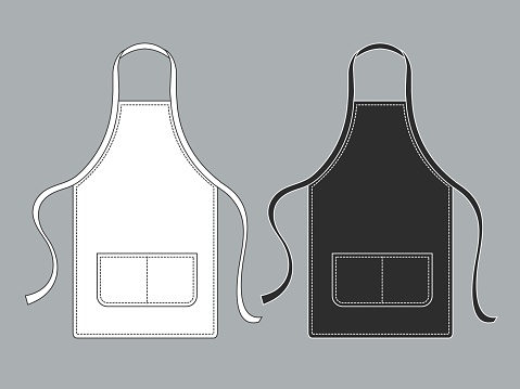 Chef Apron Black White Culinary Aprons Chef Uniform Kitchen Cotton Kitchen Worker Woman Wearing Waiter Vest Template Stock Illustration - Download Image Now
