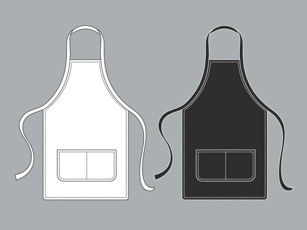 Chef apron. Black white culinary aprons chef uniform kitchen cotton kitchen worker woman wearing waiter vest template Chef apron. Black white culinary aprons chef uniform kitchen cotton kitchen worker woman wearing waiter vest isolated vector template apron stock illustrations