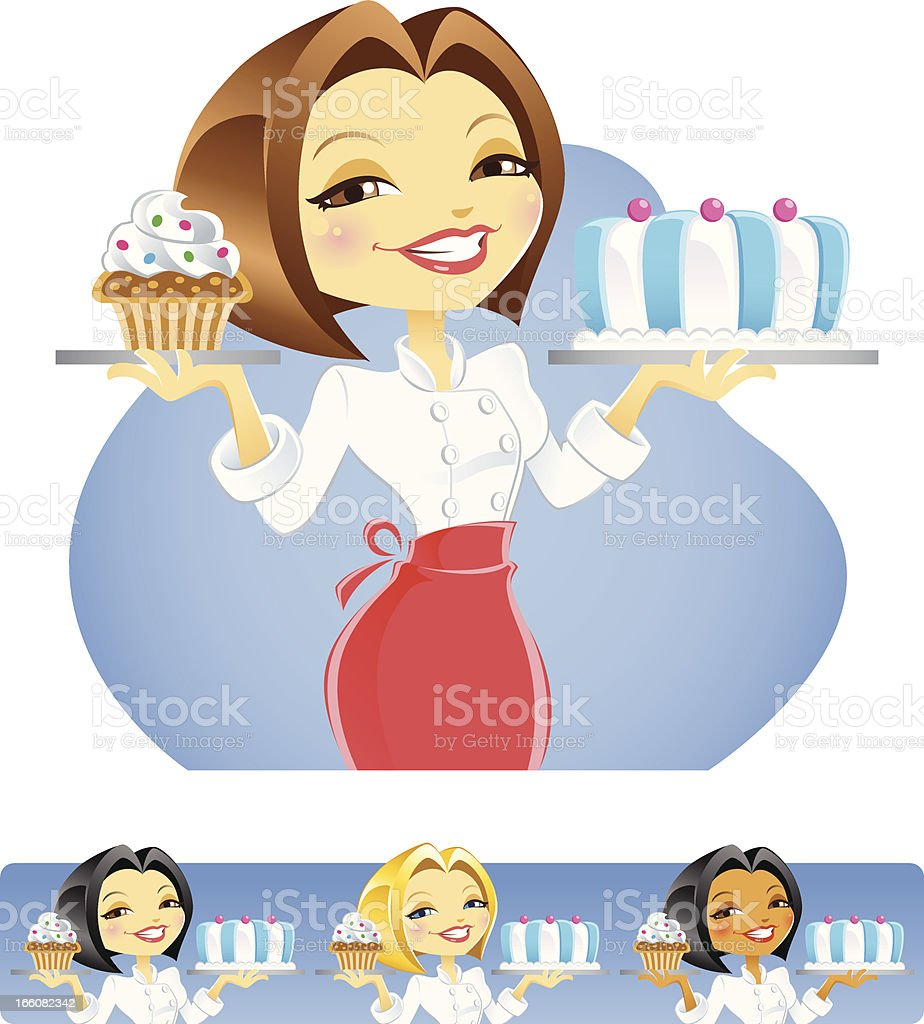 Chef Baker Lady with Cake and Cupcake vector art illustration