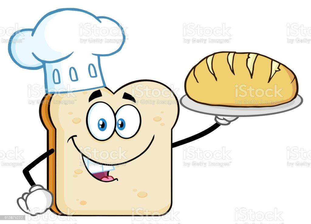 Personaje De Mascota De Dibujos Animados Chef Pan Rebanada