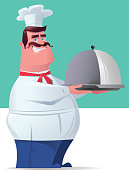 vector character of happy chef carrying cover dinner plate…