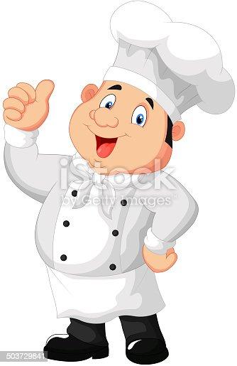 Chef cuisinier de dessin anim pouce lev donner - Chef cuisinier dessin ...