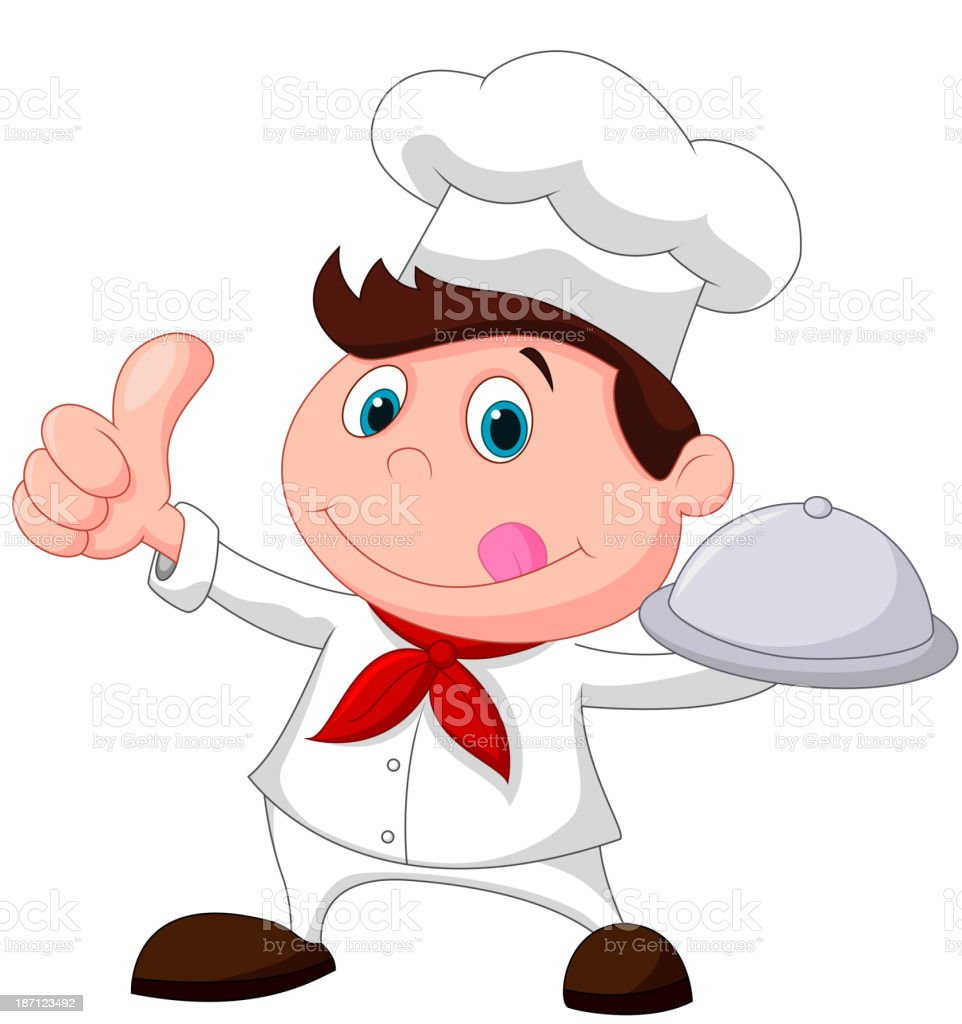 Chef cartoon holding a metal food platter and thumb up royalty-free stock vector art