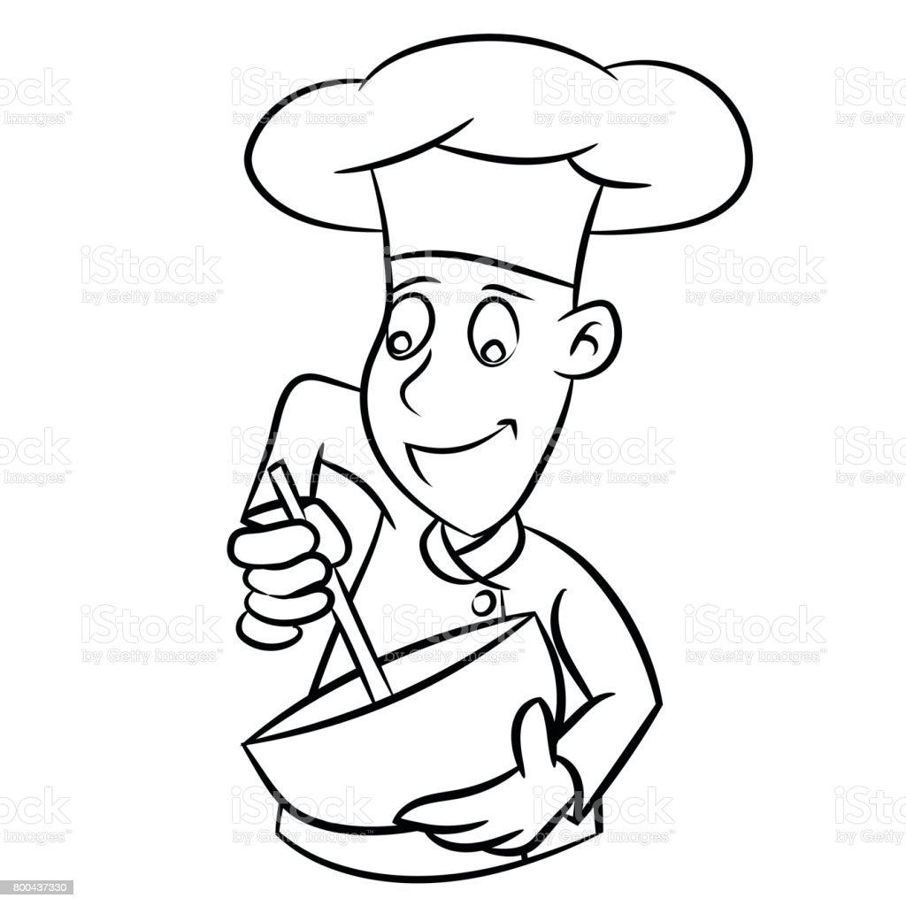 Chef Cartoon - Line Drawn Vector векторная иллюстрация