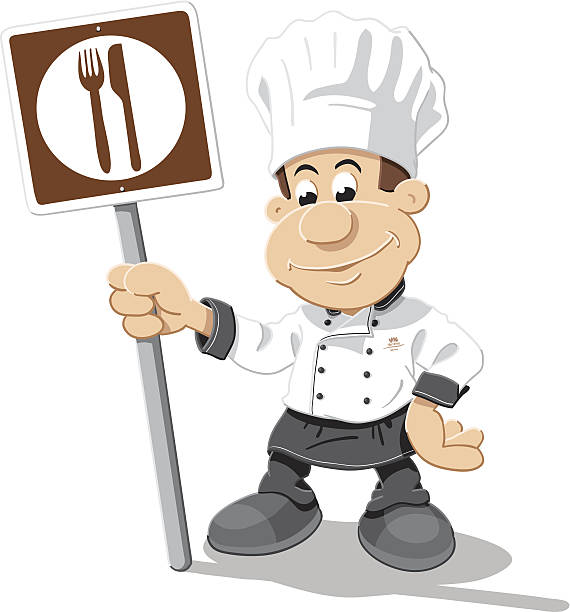 Chef Cartoon Man Restaurant Sign Isolated Vector Illustration of a cartoon chef, who is holding a brown restaurant road sign with fork and knife. The illustration is on a transparent background (.eps-file). The colors in the .eps-file are ready for print (CMYK). Included files: EPS (v8) and Hi-Res JPG. cartoon people sign stock illustrations