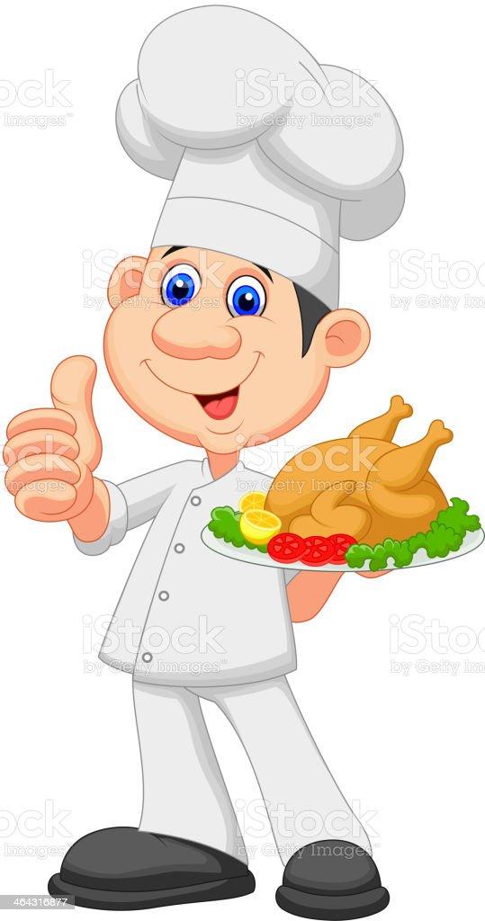 Chef cuisinier de dessin anim avec poulet grill - Cuisinier dessin ...