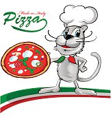 chef cat cartoon with pizza
