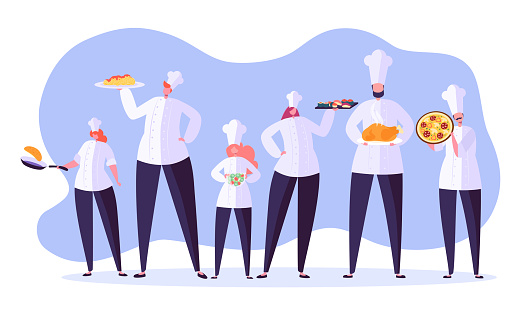Chef characters set. Cartoon chief cooking in restaurant. Cook with tray and different meals. Food industry. Vector illustration
