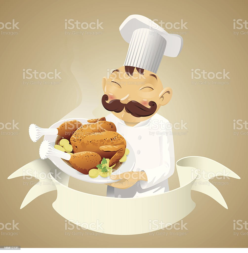Chef chicken - banner vector art illustration