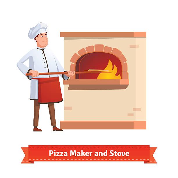 ilustrações de stock, clip art, desenhos animados e ícones de chef cozinhar colocar uma pizza forno de tijolo cálculo - cooker happy