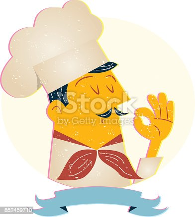 Chef cook in retro style