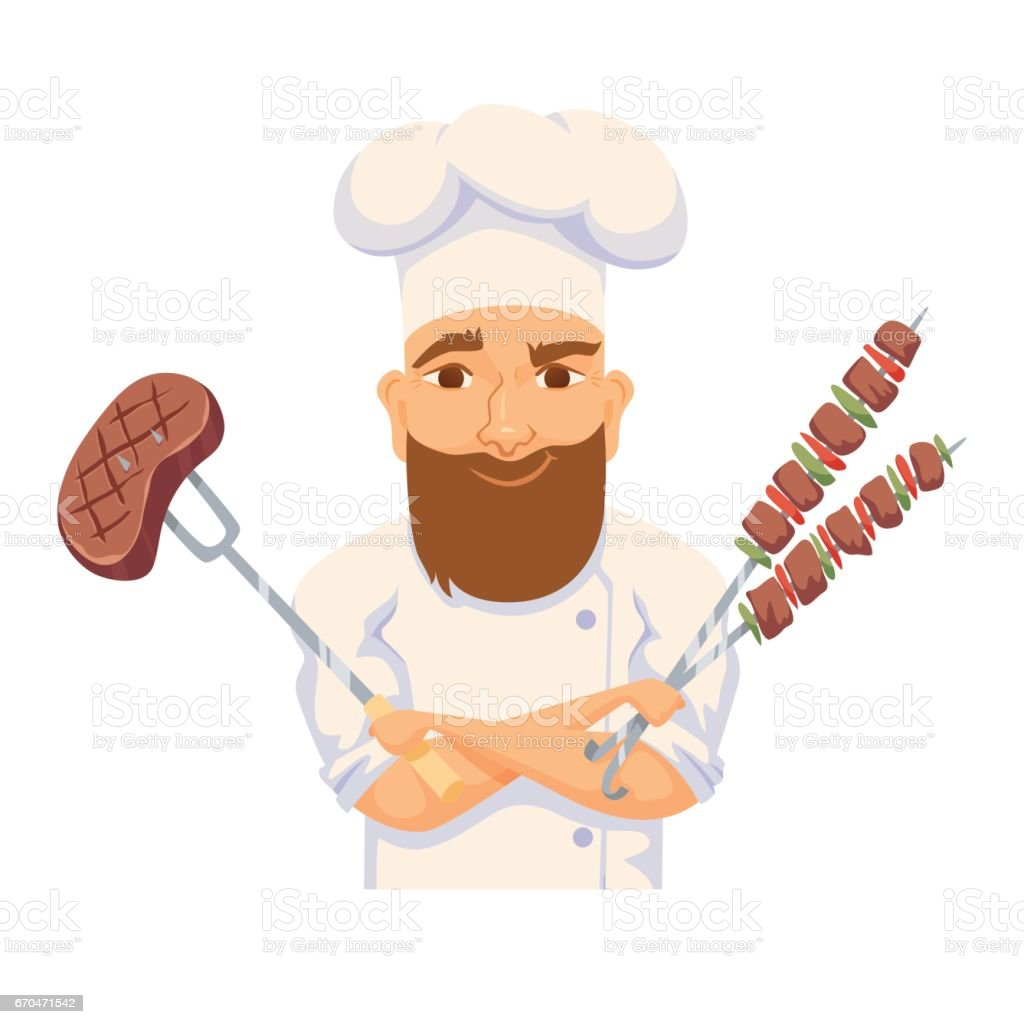 Chef cooking BBQ vector art illustration